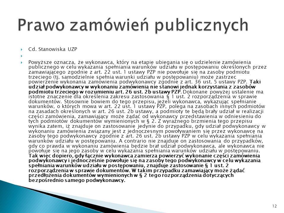 Stanowisko Urząd Zamówień Publicznych w zakresie stosowania art.