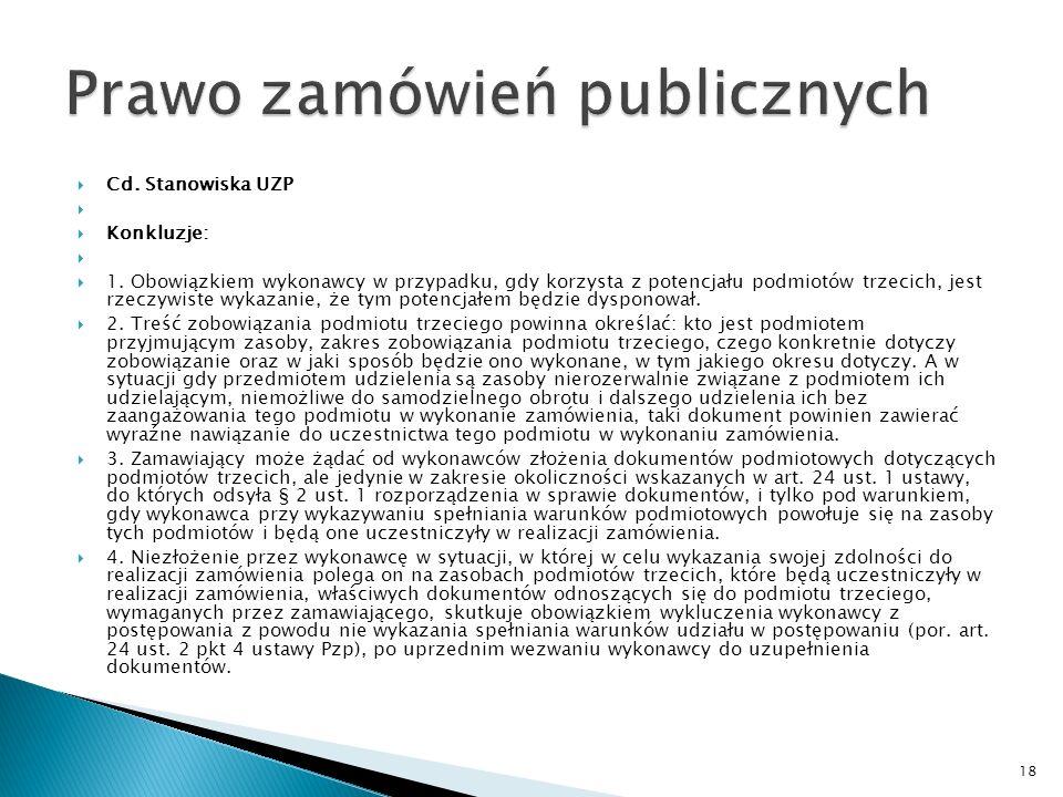 Cd.Stanowiska UZP W wyroku z dnia 18 listopada 2004 r.