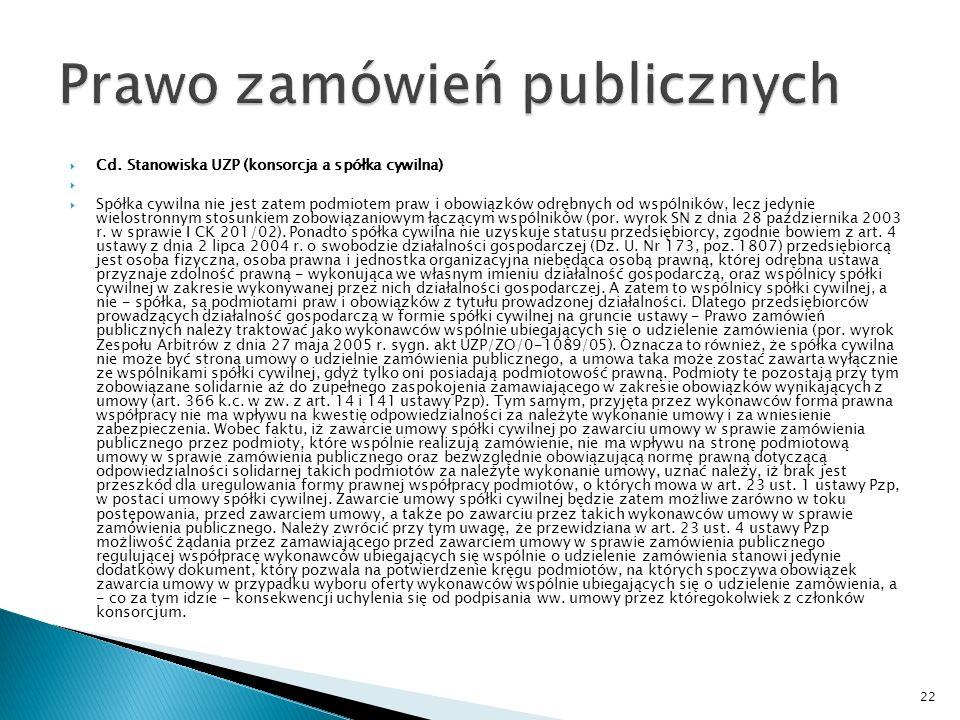 Pismo Urząd Zamówień Publicznych Możliwość zawarcia umowy spółki cywilnej przez członków konsorcjum po zawarciu umowy o zamówienie publiczne.