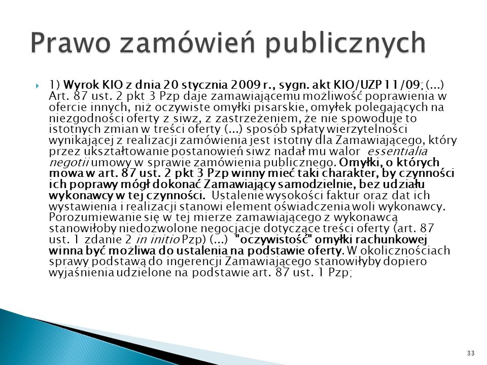 Pismo Urząd Zamówień Publicznych Poprawianie omyłek na podstawie art.