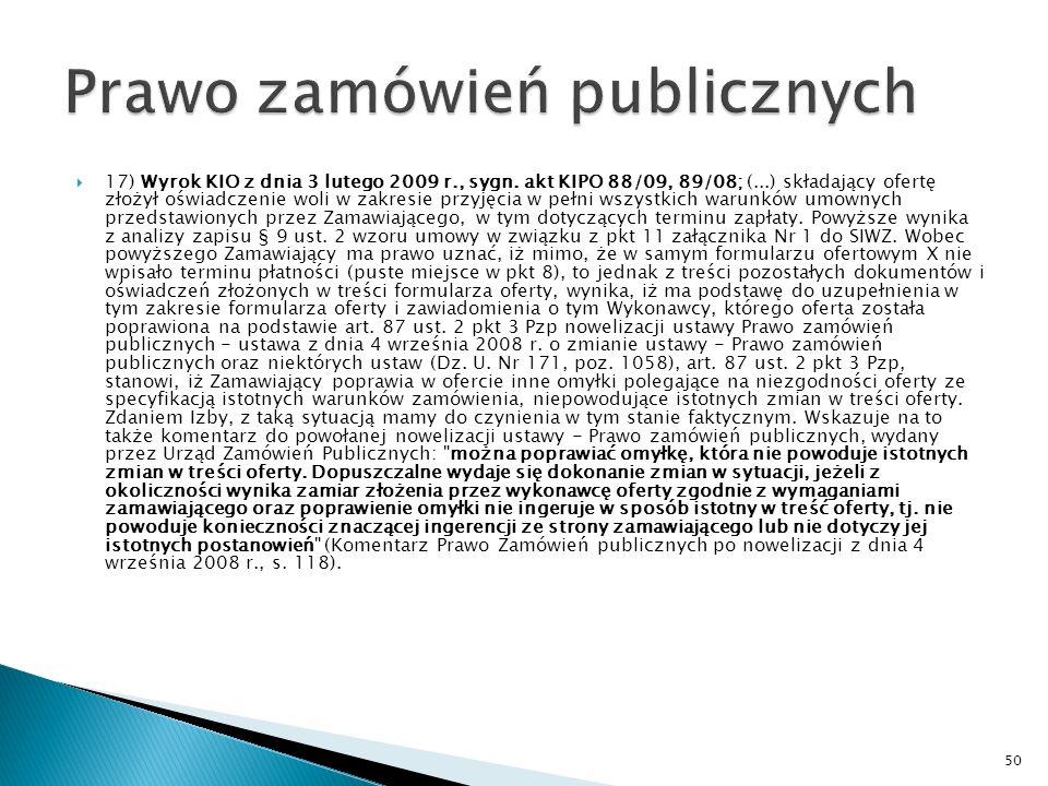 16) Wyrok KIO z dnia 23 stycznia 2009 r.sygn.