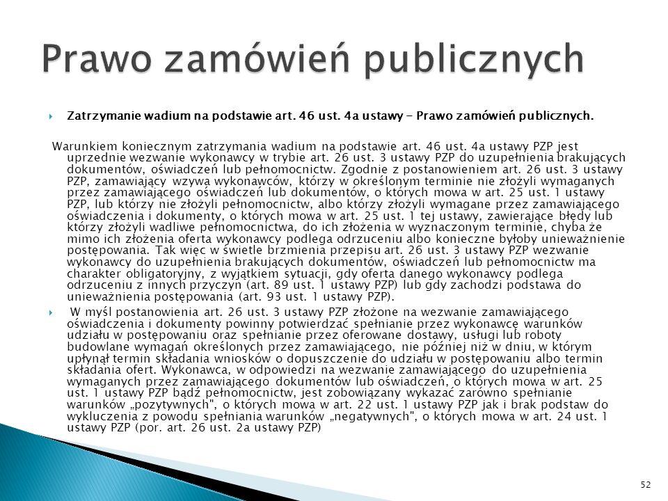 Pismo Urząd Zamówień Publicznych Zatrzymanie wadium na podstawie art.
