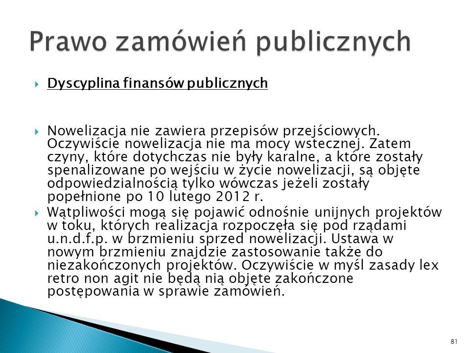 Dyscyplina finansów publicznych Nowelizacja przewiduje, że w tym zakresie odpowiedzialności za naruszenie dyscypliny finansów publicznych podlegają trzy grupy osób: 1) osoby zobowiązane lub upoważnione do działania w imieniu podmiotu, któremu odrębną ustawą lub na jej podstawie albo na podstawie umowy lub w drodze porozumienia powierzono określone zadania związane z realizacją programu finansowanego z udziałem środków unijnych lub zagranicznych – czyli przede wszystkim instytucje zarządzające, pośredniczące i wdrażające; 2) osoby zobowiązane do realizacji projektu finansowanego z udziałem środków unijnych lub zagranicznych, którym przekazano środki publiczne przeznaczone na realizację tego projektu lub które wykorzystują takie środki – czyli beneficjenci tych środków; 3) osoby zobowiązane lub upoważnione do działania w imieniu podmiotu zobowiązanego do realizacji projektu finansowanego z udziałem środków unijnych lub zagranicznych – czyli wszyscy ci, których beneficjent zobowiązał lub upoważnił do działania w swoim imieniu.