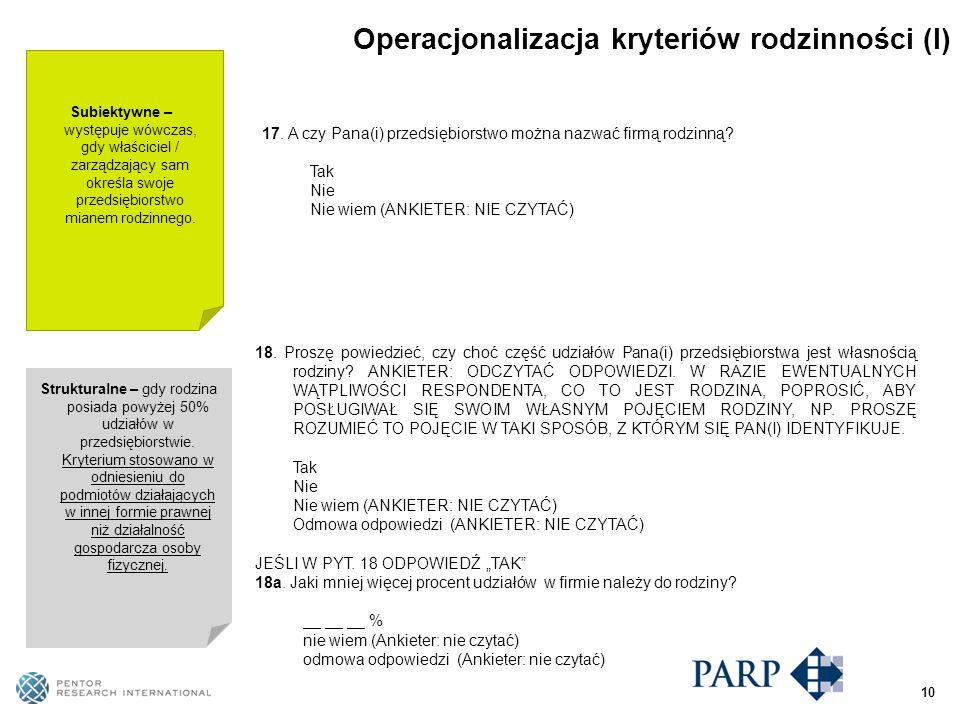 Operacjonalizacja kryteriów rodzinności (I) 17.