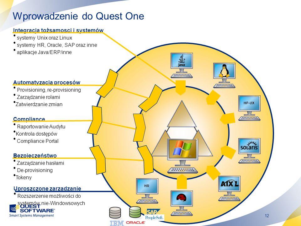 12 Integracja tożsamosci i systemów systemy Unix oraz Linux systemy HR, Oracle, SAP oraz inne aplikacje Java/ERP/inne Uproszczone zarządzanie Rozszerz
