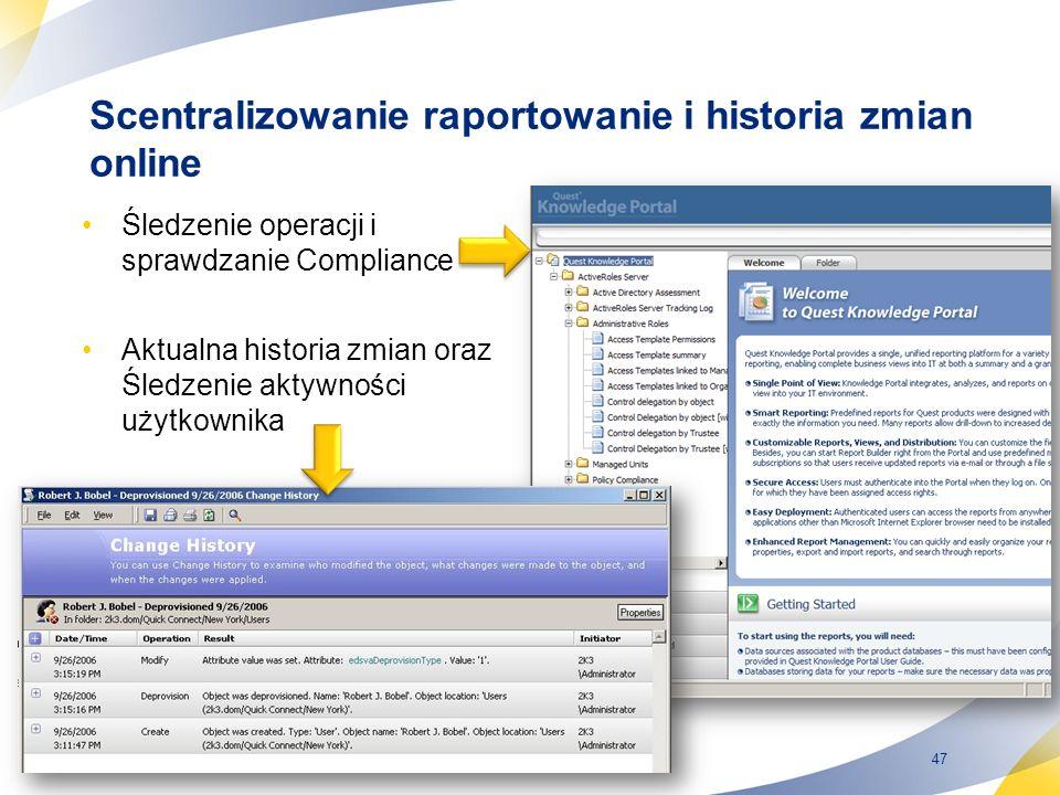 47 Scentralizowanie raportowanie i historia zmian online Śledzenie operacji i sprawdzanie Compliance Aktualna historia zmian oraz Śledzenie aktywności