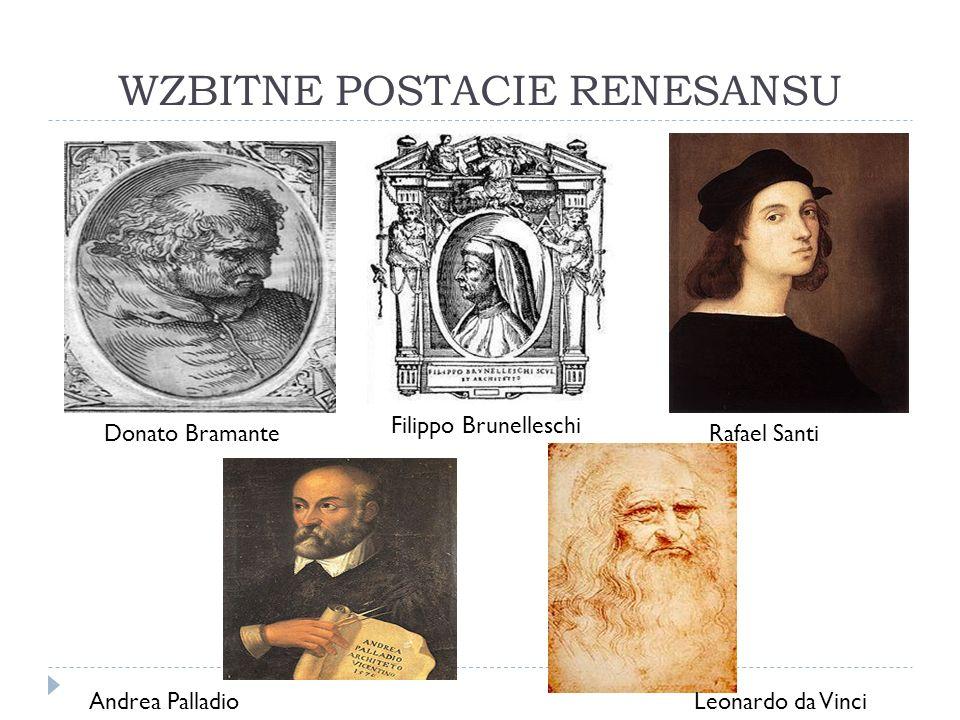 WZBITNE POSTACIE RENESANSU Donato Bramante Filippo Brunelleschi Rafael Santi Andrea PalladioLeonardo da Vinci