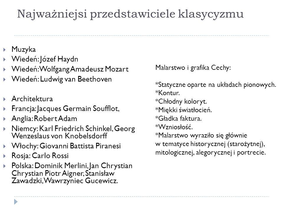 Najważniejsi przedstawiciele klasycyzmu Muzyka Wiedeń: Józef Haydn Wiedeń: Wolfgang Amadeusz Mozart Wiedeń: Ludwig van Beethoven Architektura Francja: