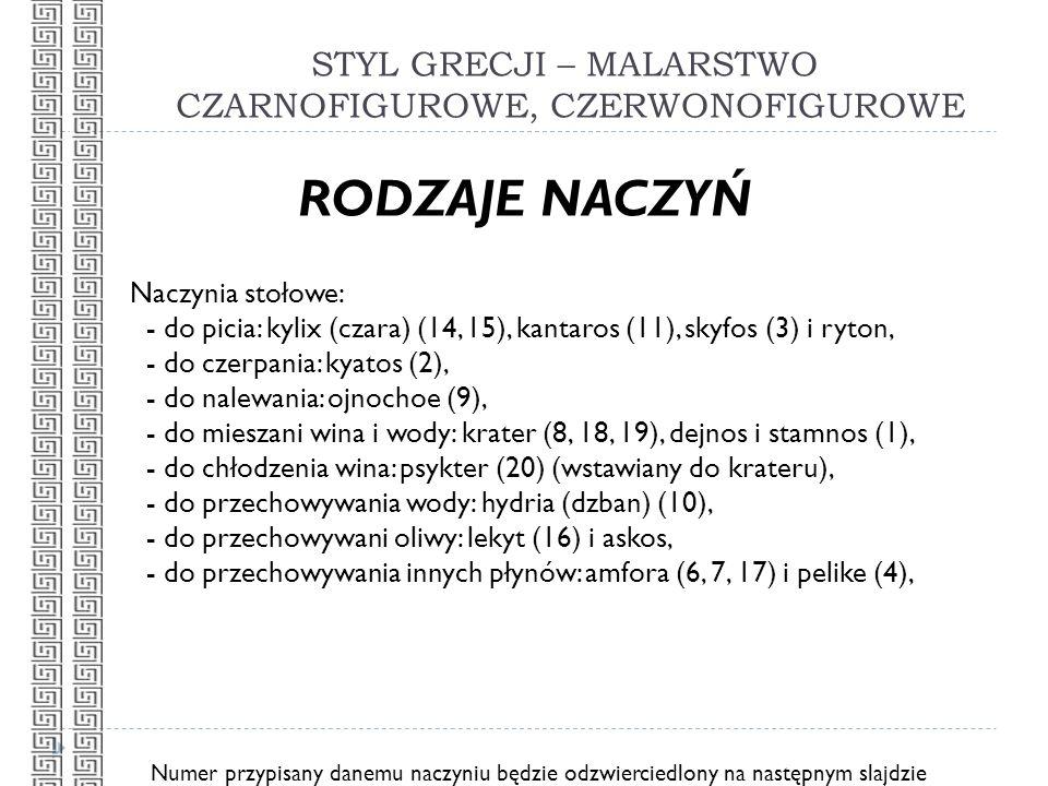 STYL GRECJI – MALARSTWO CZARNOFIGUROWE, CZERWONOFIGUROWE RODZAJE NACZYŃ Naczynia stołowe: - do picia: kylix (czara) (14, 15), kantaros (11), skyfos (3