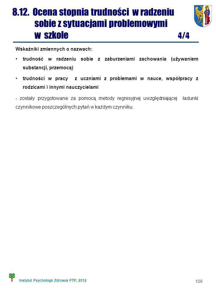 Instytut Psychologii Zdrowia PTP, 2012 Wskaźniki zmiennych o nazwach: trudność w radzeniu sobie z zaburzeniami zachowania (używaniem substancji, przem