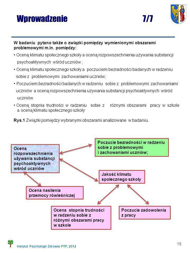 Instytut Psychologii Zdrowia PTP, 2012 16 W badaniu pytano także o związki pomiędzy wymienionymi obszarami problemowymi m.in. pomiędzy: Oceną klimatu