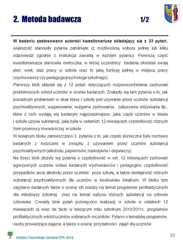 Instytut Psychologii Zdrowia PTP, 2012 2. Metoda badawcza 1/2 W badaniu zastosowano autorski kwestionariusz składający się z 33 pytań; większość stano