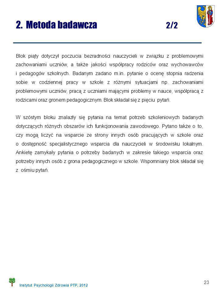 Instytut Psychologii Zdrowia PTP, 2012 2. Metoda badawcza 2/2 Blok piąty dotyczył poczucia bezradności nauczycieli w związku z problemowymi zachowania