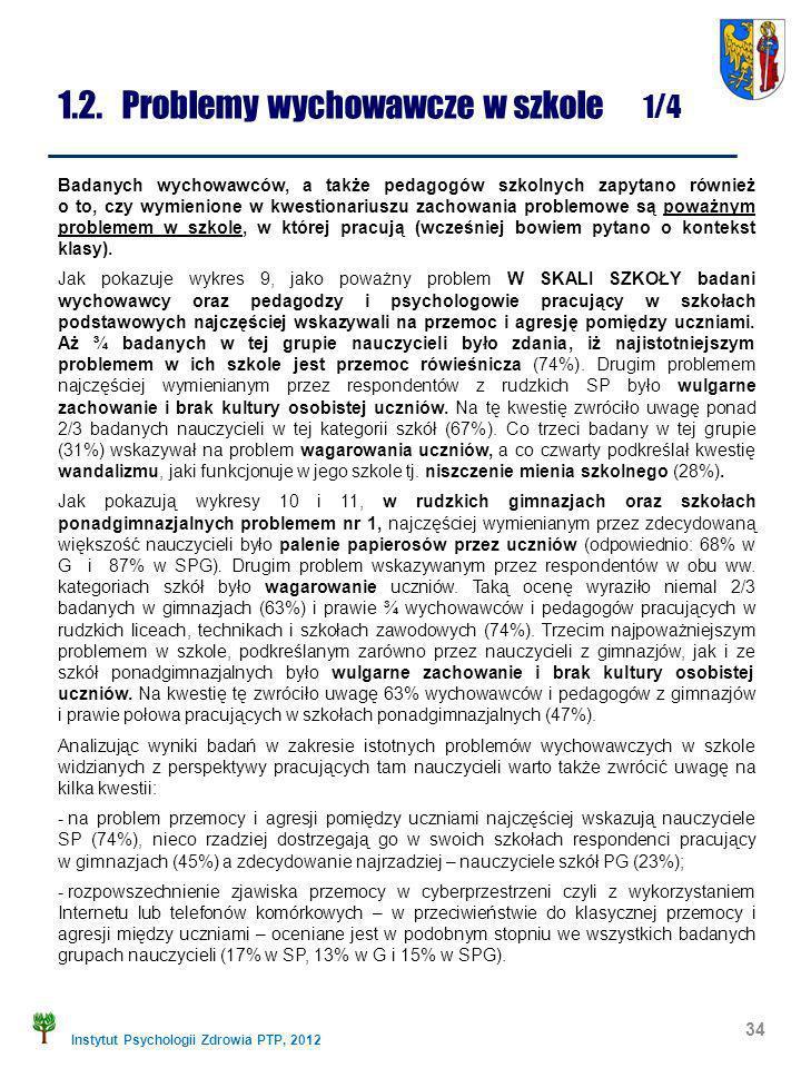 Instytut Psychologii Zdrowia PTP, 2012 1.2. Problemy wychowawcze w szkole 1/4 34 Badanych wychowawców, a także pedagogów szkolnych zapytano również o