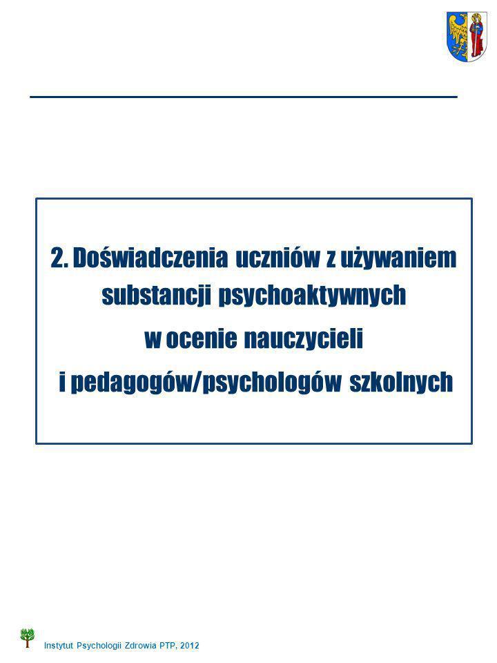 Instytut Psychologii Zdrowia PTP, 2012 2. Doświadczenia uczniów z używaniem substancji psychoaktywnych w ocenie nauczycieli i pedagogów/psychologów sz
