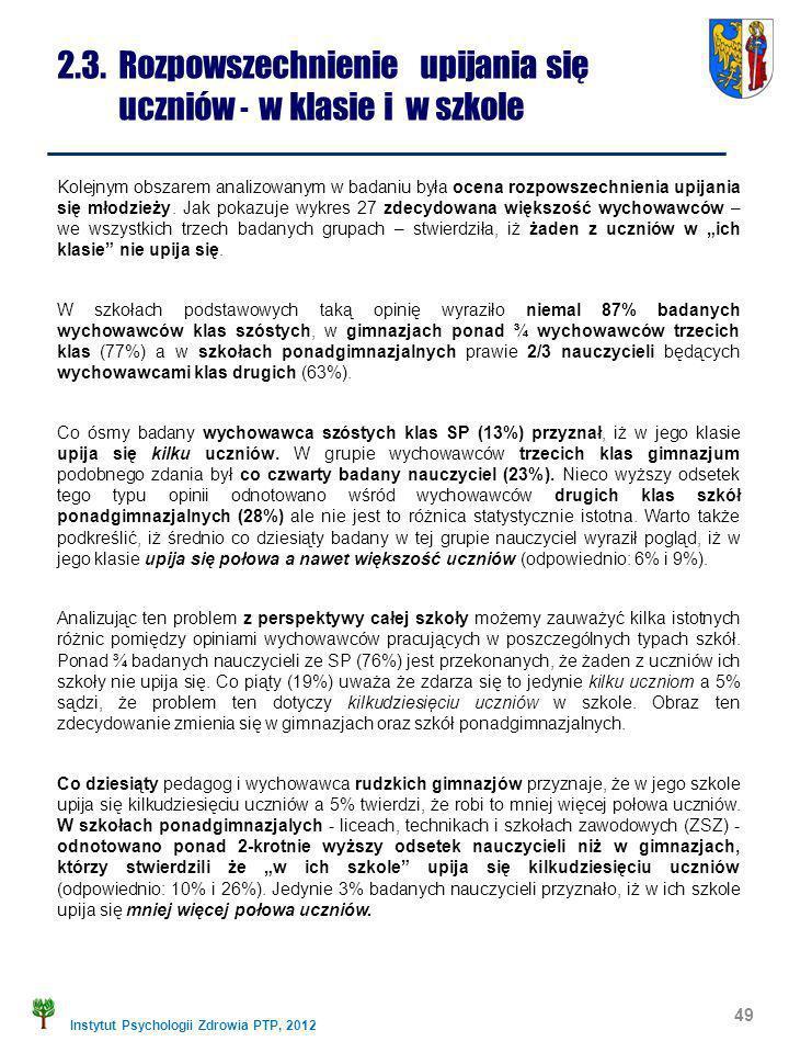 Instytut Psychologii Zdrowia PTP, 2012 2.3. Rozpowszechnienie upijania się uczniów - w klasie i w szkole 49 Kolejnym obszarem analizowanym w badaniu b