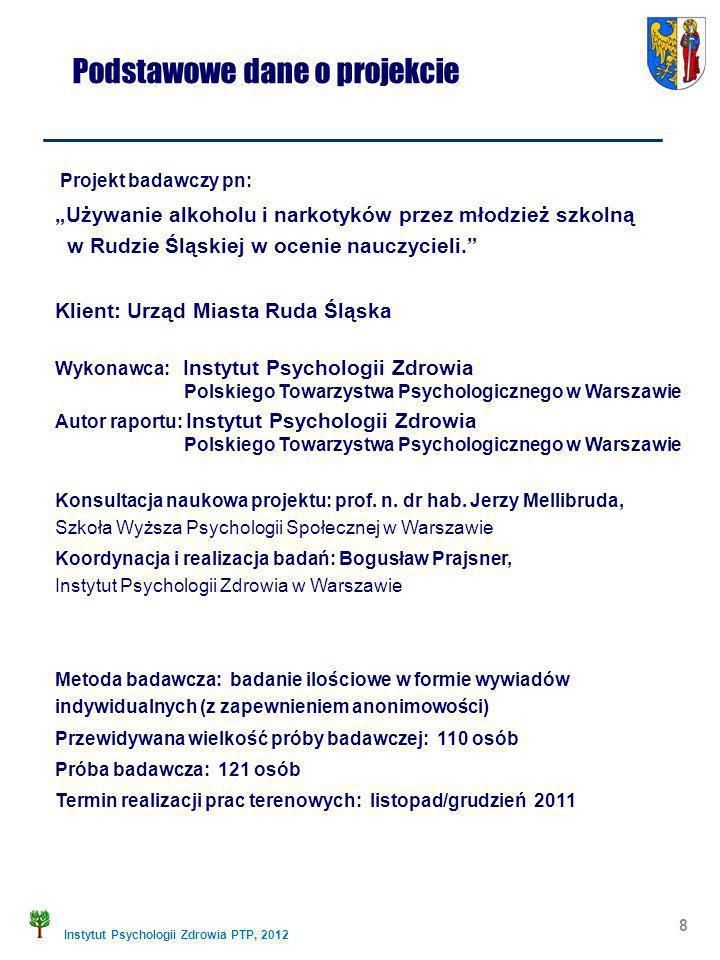 Instytut Psychologii Zdrowia PTP, 2012 Podstawowe dane o projekcie Projekt badawczy pn: Używanie alkoholu i narkotyków przez młodzież szkolną w Rudzie