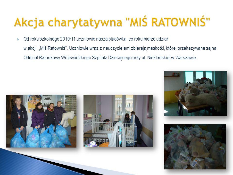 Od roku szkolnego 2010/11 uczniowie nasza placówka co roku bierze udział w akcji Miś Ratowniś
