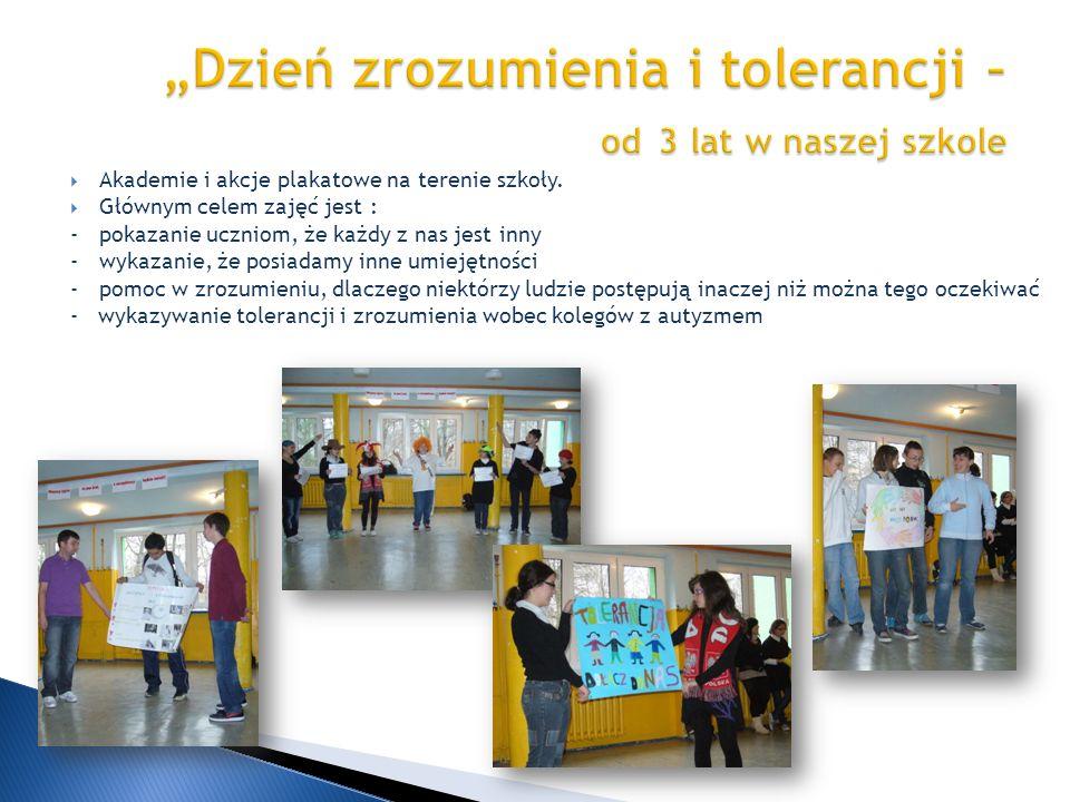 Akademie i akcje plakatowe na terenie szkoły. Głównym celem zajęć jest : -pokazanie uczniom, że każdy z nas jest inny -wykazanie, że posiadamy inne um