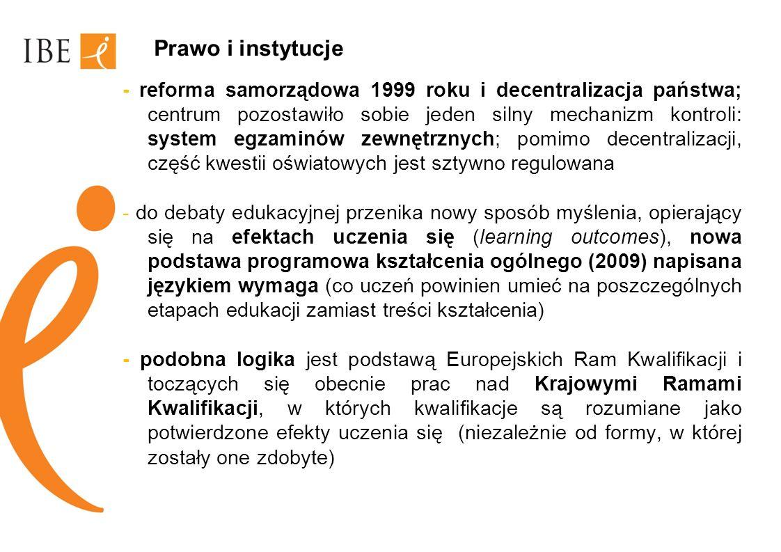 Prawo i instytucje - reforma samorządowa 1999 roku i decentralizacja państwa; centrum pozostawiło sobie jeden silny mechanizm kontroli: system egzamin
