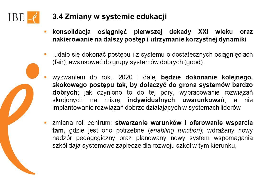 3.4 Zmiany w systemie edukacji konsolidacja osiągnięć pierwszej dekady XXI wieku oraz nakierowanie na dalszy postęp i utrzymanie korzystnej dynamiki u