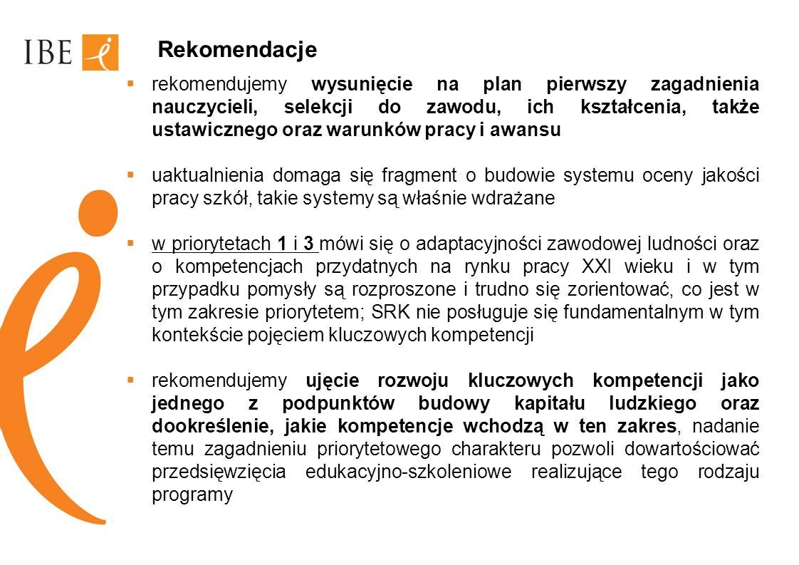 Rekomendacje rekomendujemy wysunięcie na plan pierwszy zagadnienia nauczycieli, selekcji do zawodu, ich kształcenia, także ustawicznego oraz warunków