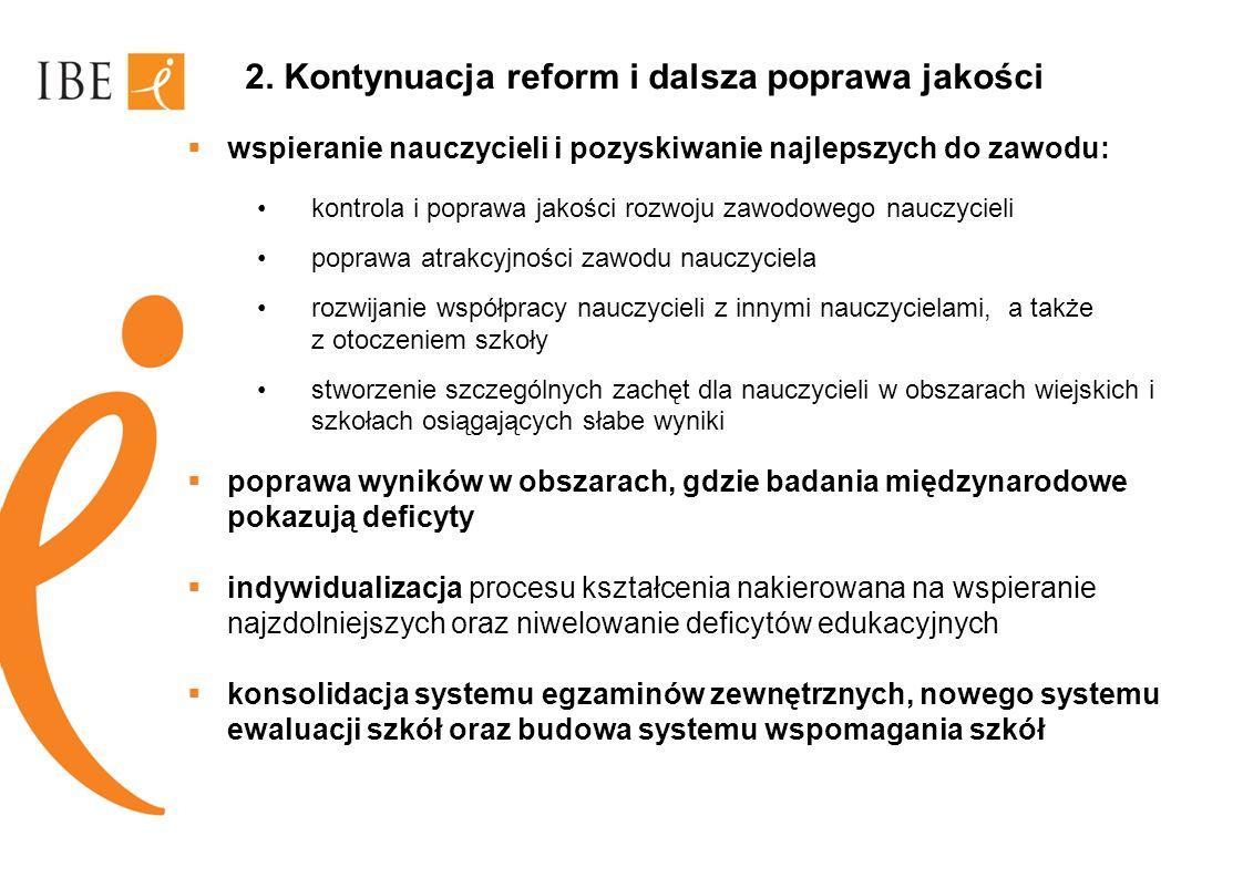 2. Kontynuacja reform i dalsza poprawa jakości wspieranie nauczycieli i pozyskiwanie najlepszych do zawodu: kontrola i poprawa jakości rozwoju zawodow