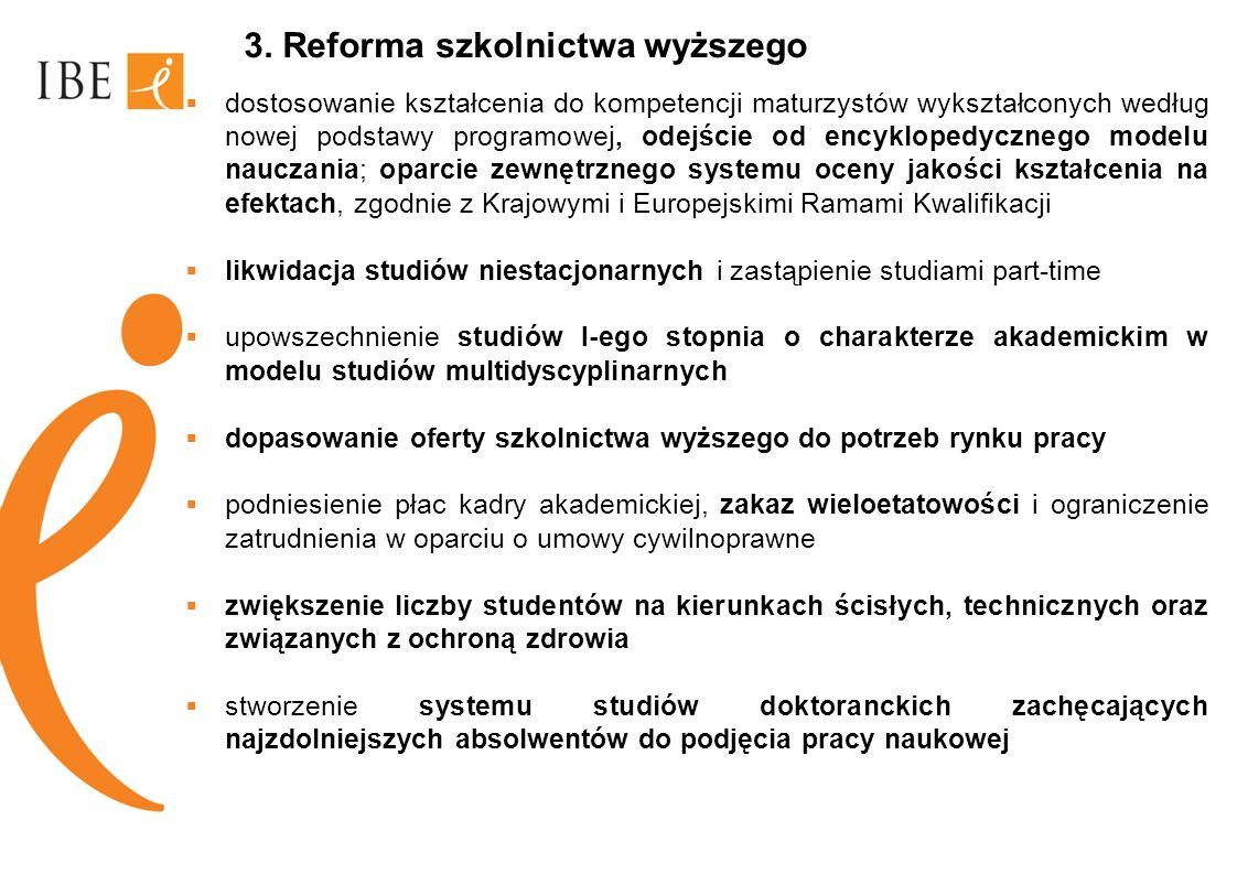 3. Reforma szkolnictwa wyższego dostosowanie kształcenia do kompetencji maturzystów wykształconych według nowej podstawy programowej, odejście od ency