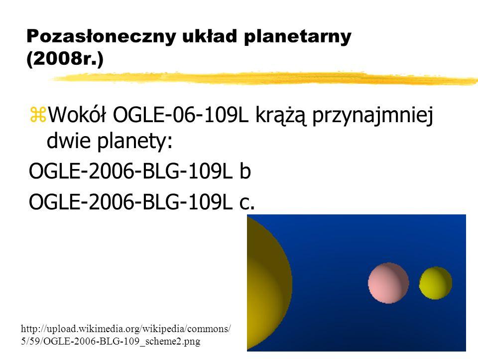 Bartosz Jabłonecki Pozasłoneczny układ planetarny (2008r.) zWokół OGLE-06-109L krążą przynajmniej dwie planety: OGLE-2006-BLG-109L b OGLE-2006-BLG-109