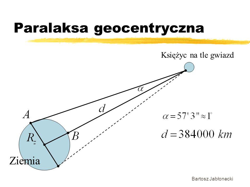 Paralaksa geocentryczna Bartosz Jabłonecki Ziemia Księżyc na tle gwiazd