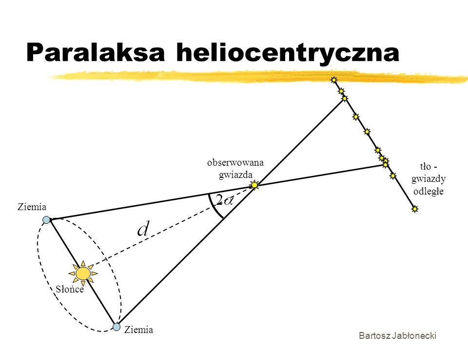 Paralaksa heliocentryczna Bartosz Jabłonecki Ziemia Słońce obserwowana gwiazda tło - gwiazdy odległe