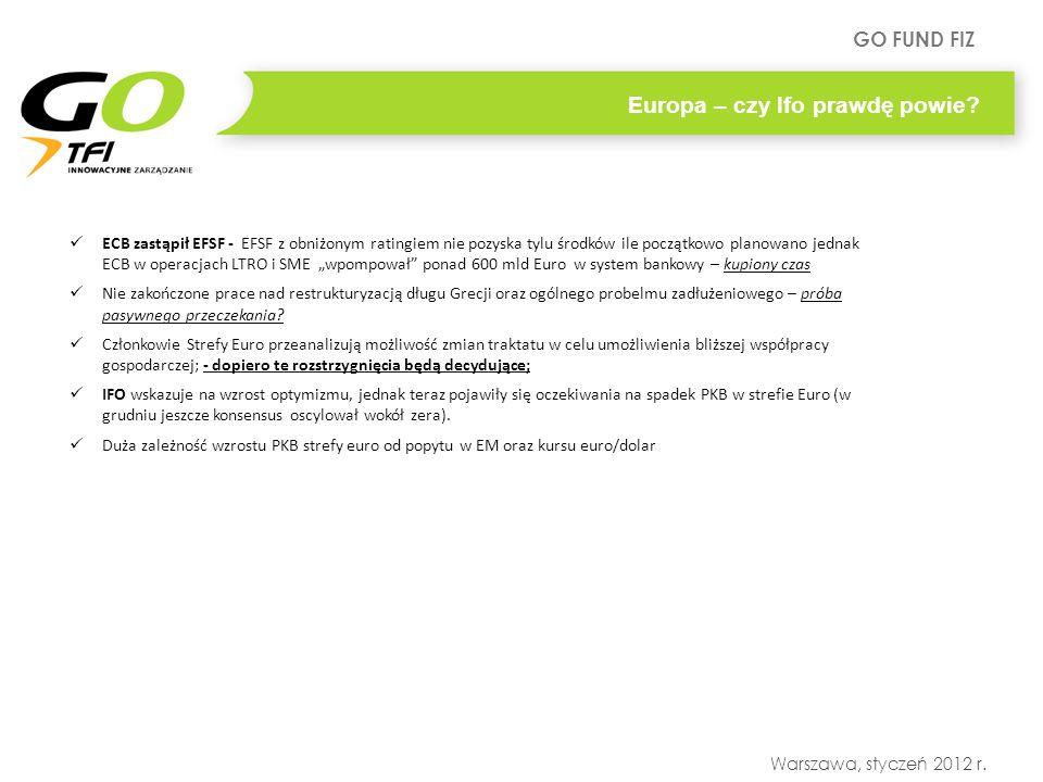 GO FUND FIZ Warszawa, styczeń 2012 r. Europa – czy Ifo prawdę powie? ECB zastąpił EFSF - EFSF z obniżonym ratingiem nie pozyska tylu środków ile począ