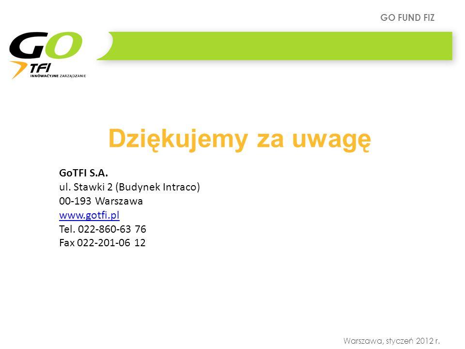 GO FUND FIZ Warszawa, styczeń 2012 r. Dziękujemy za uwagę GoTFI S.A. ul. Stawki 2 (Budynek Intraco) 00-193 Warszawa www.gotfi.pl Tel. 022-860-63 76 Fa