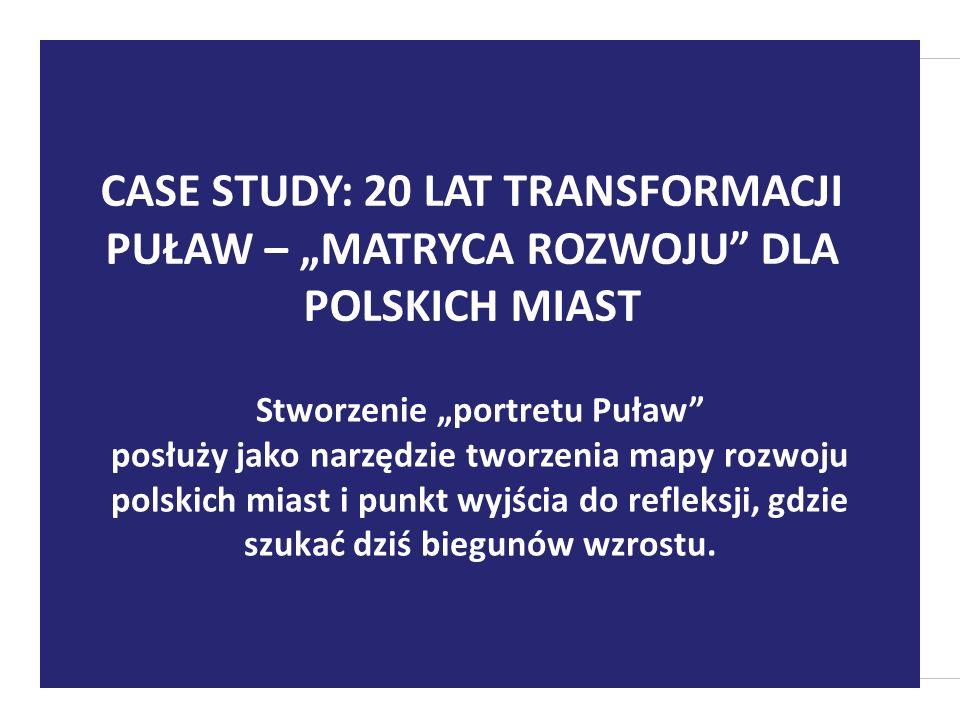 Stworzenie portretu Puław posłuży jako narzędzie tworzenia mapy rozwoju polskich miast i punkt wyjścia do refleksji, gdzie szukać dziś biegunów wzrostu.