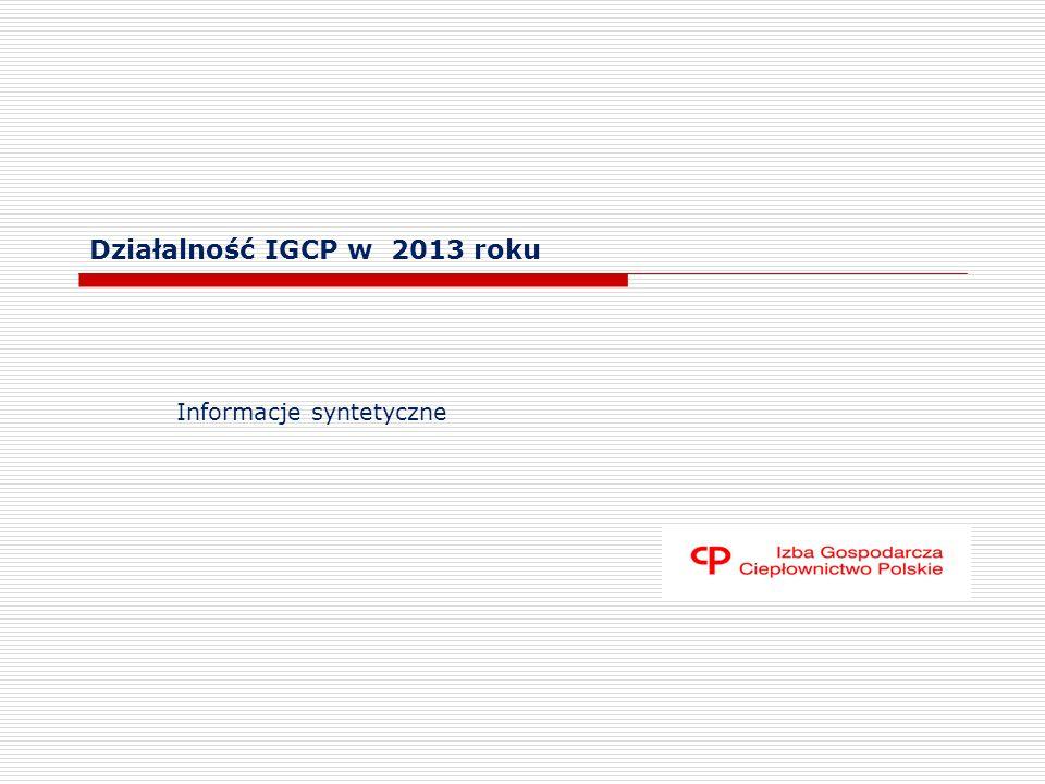 Działalność IGCP w 2013 roku Informacje syntetyczne