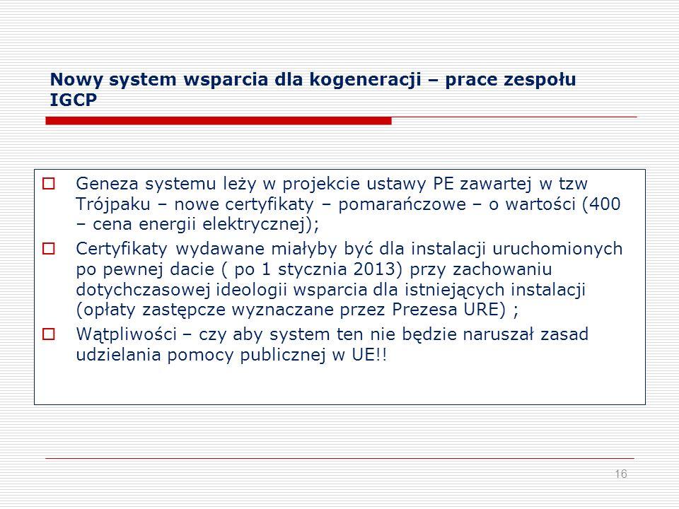 Nowy system wsparcia dla kogeneracji – prace zespołu IGCP Geneza systemu leży w projekcie ustawy PE zawartej w tzw Trójpaku – nowe certyfikaty – pomar