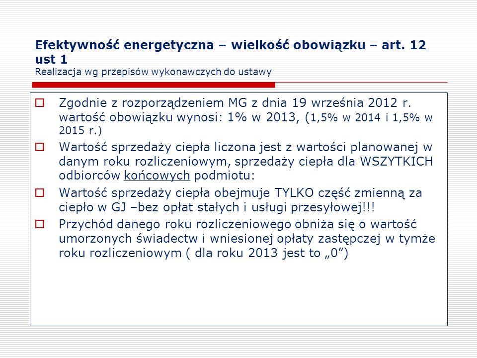 Efektywność energetyczna – wielkość obowiązku – art. 12 ust 1 Realizacja wg przepisów wykonawczych do ustawy Zgodnie z rozporządzeniem MG z dnia 19 wr