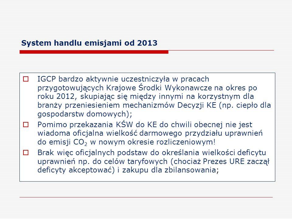 System handlu emisjami od 2013 IGCP bardzo aktywnie uczestniczyła w pracach przygotowujących Krajowe Środki Wykonawcze na okres po roku 2012, skupiają