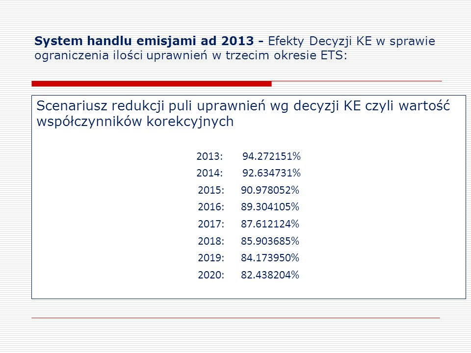 System handlu emisjami ad 2013 - Efekty Decyzji KE w sprawie ograniczenia ilości uprawnień w trzecim okresie ETS: Scenariusz redukcji puli uprawnień w