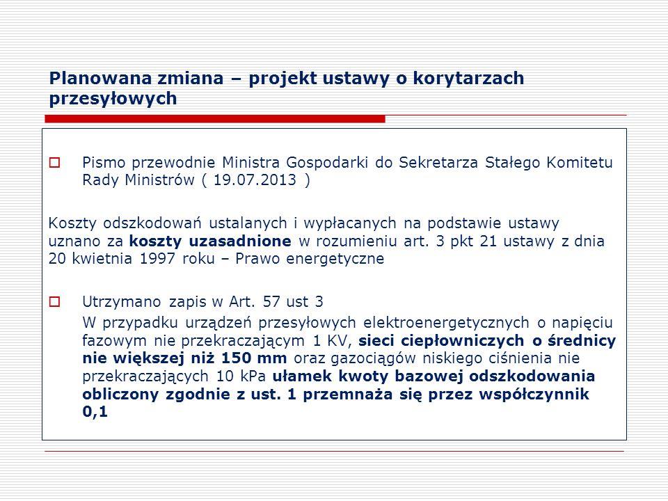 Planowana zmiana – projekt ustawy o korytarzach przesyłowych Pismo przewodnie Ministra Gospodarki do Sekretarza Stałego Komitetu Rady Ministrów ( 19.0
