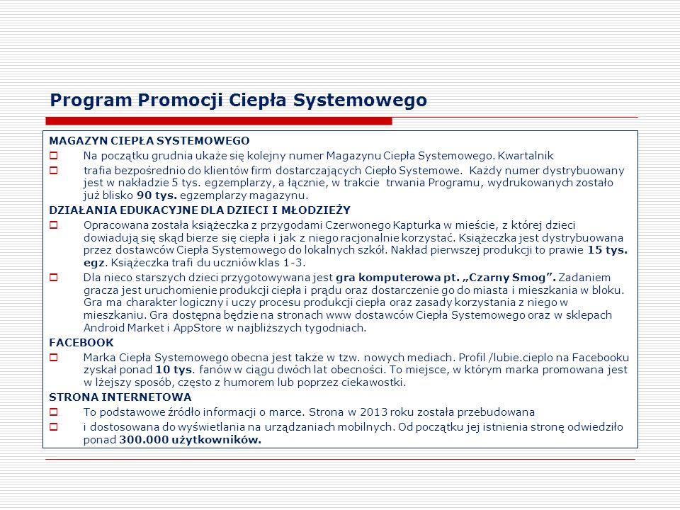 Program Promocji Ciepła Systemowego MAGAZYN CIEPŁA SYSTEMOWEGO Na początku grudnia ukaże się kolejny numer Magazynu Ciepła Systemowego. Kwartalnik tra