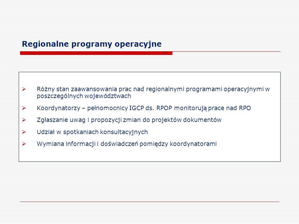 Regionalne programy operacyjne Różny stan zaawansowania prac nad regionalnymi programami operacyjnymi w poszczególnych województwach Koordynatorzy – p