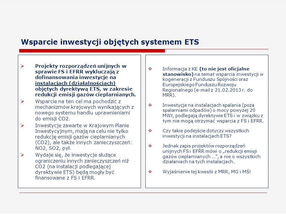 Wsparcie inwestycji objętych systemem ETS Projekty rozporządzeń unijnych w sprawie FS i EFRR wykluczają z dofinansowania inwestycje na instalacjach (d
