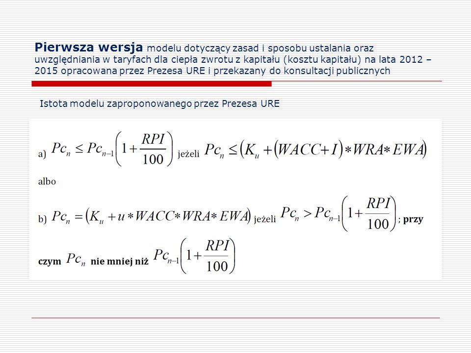 Pierwsza wersja modelu dotyczący zasad i sposobu ustalania oraz uwzględniania w taryfach dla ciepła zwrotu z kapitału (kosztu kapitału) na lata 2012 –