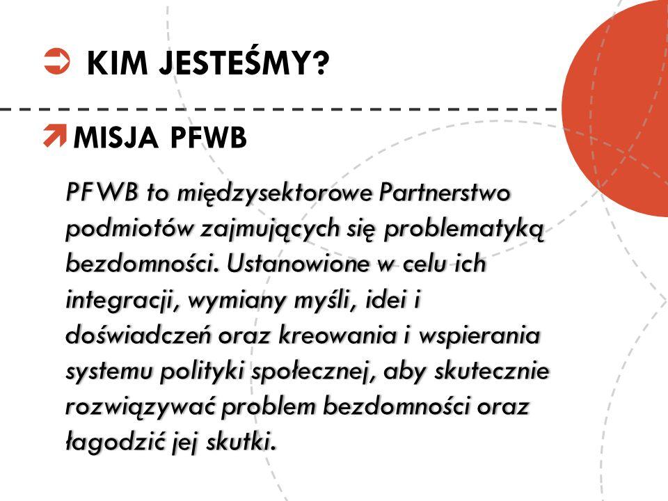MISJA PFWB PFWB to międzysektorowe Partnerstwo podmiotów zajmujących się problematyką bezdomności. Ustanowione w celu ich integracji, wymiany myśli, i