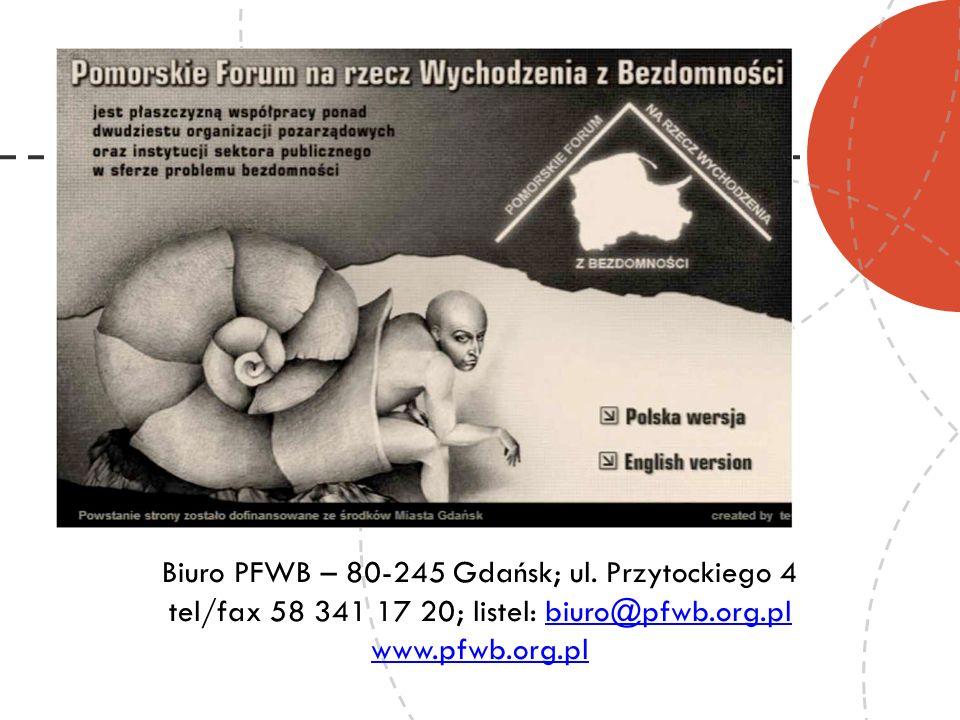 Biuro PFWB – 80-245 Gdańsk; ul. Przytockiego 4 tel/fax 58 341 17 20; listel: biuro@pfwb.org.plbiuro@pfwb.org.pl www.pfwb.org.pl