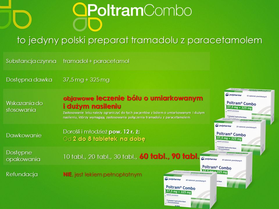Substancja czynna tramadol + paracetamol Dostępna dawka 37,5 mg + 325 mg Wskazania do stosowania objawowe leczenie bólu o umiarkowanym i dużym nasilen