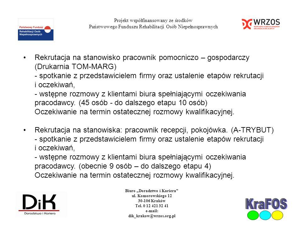 Projekt współfinansowany ze środków Państwowego Funduszu Rehabilitacji Osób Niepełnosprawnych Biuro Doradztwo i Kariera ul. Komorowskiego 12 30-106 Kr