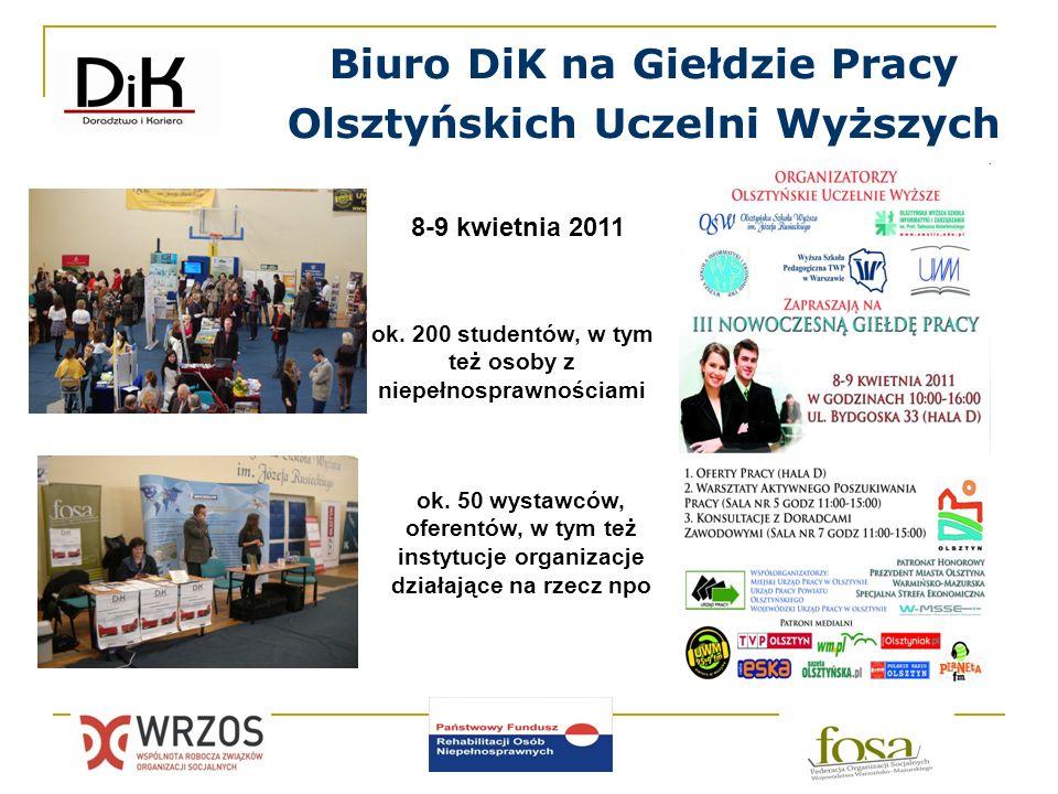 Biuro DiK na Giełdzie Pracy Olsztyńskich Uczelni Wyższych 8-9 kwietnia 2011 ok. 200 studentów, w tym też osoby z niepełnosprawnościami ok. 50 wystawcó