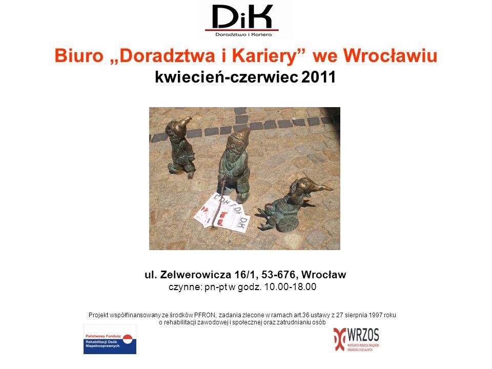 ul. Zelwerowicza 16/1, 53-676, Wrocław czynne: pn-pt w godz. 10.00-18.00 Projekt współfinansowany ze środków PFRON, zadania zlecone w ramach art.36 us